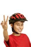 Casco de la bici del muchacho Imagenes de archivo