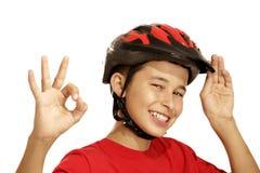 Casco de la bici del muchacho Fotos de archivo libres de regalías