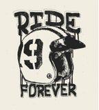 Casco de la motocicleta, impresión de la camiseta, paseo para siempre libre illustration