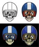 Casco de la raya del cráneo del motorista stock de ilustración