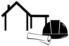 Casco de protección y modelos de la construcción stock de ilustración