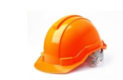 Casco de seguridad anaranjado aislado en el fondo blanco, casco en w Fotografía de archivo