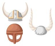 Casco de Viking ejemplo plano del casco de vikingo en el backgroud de madera de la textura Foto de archivo libre de regalías