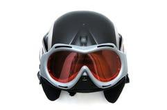 Casco del esquí con los anteojos Imagenes de archivo