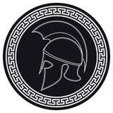 Casco del greco antico con una cresta sullo schermo su un Backg bianco illustrazione vettoriale