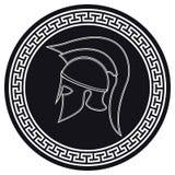 Casco del greco antico con una cresta sullo schermo su un bianco illustrazione vettoriale