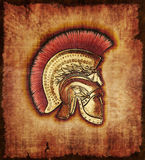 Casco del guerrero de Hopite en el pergamino Fotos de archivo libres de regalías