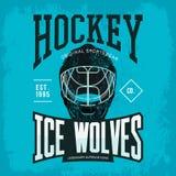Casco del hockey como insignia o logotipo del equipo de deporte Imagen de archivo libre de regalías