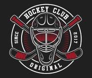 Casco del hockey con los palillos Fotos de archivo