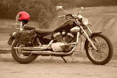 Casco del motociclo con un colore rosso immagine stock