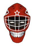 Casco del portiere dell'hockey con il fronte diabolico dentro Fotografie Stock Libere da Diritti