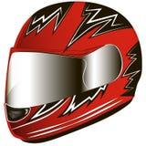 Casco del rojo de la motocicleta Motorista del rojo del casco Imagenes de archivo