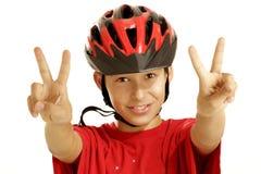 Casco della bici del ragazzo Immagini Stock