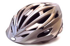 Casco della bicicletta isolato Fotografia Stock