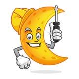 Casco della mascotte della luna del lavoratore e cacciavite d'uso di tenuta, Immagine Stock