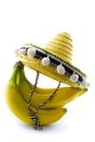 Casco di banane con il sombrero Fotografia Stock Libera da Diritti