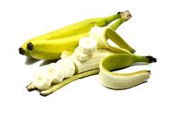 Casco di banane isolato su fondo bianco Fotografia Stock