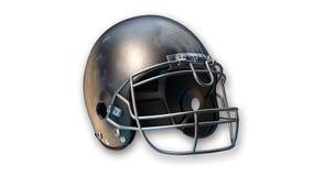 Casco di football americano, articolo sportivo su fondo bianco Fotografia Stock Libera da Diritti