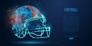 Casco di football americano astratto dalle particelle, dalle linee e dai triangoli su fondo blu rugby Illustrazione di vettore royalty illustrazione gratis