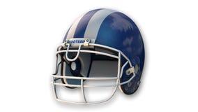 Casco di football americano blu, articolo sportivo su bianco Fotografia Stock Libera da Diritti