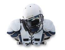 Casco di gioco del calcio e rilievi di spalla Fotografia Stock Libera da Diritti
