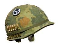 Casco di guerra degli Stati Uniti Vietnam - tasto di pace Fotografia Stock