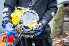 Casco di immersione subacquea fotografie stock libere da diritti