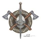 Casco di Viking, asce attraversate di vichingo ed in una corona del modello e dello schermo scandinavi di vichingo illustrazione di stock