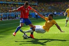 Casco e Eduardo Vargas Coupe du monde 2014 Imagens de Stock Royalty Free