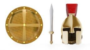 Casco, escudo y espada del griego clásico Foto de archivo libre de regalías