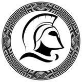 Casco espartano antiguo con el labe de Molon del lema - venido y la toma Fotografía de archivo libre de regalías