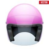 Casco femenino rosado de la motocicleta con el visera de cristal Imágenes de archivo libres de regalías