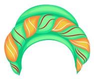 Casco femminile per la donna, turbante Sciarpa verde tricottata luminosa Bei e vestiti alla moda nazionali Illustrazione di vetto illustrazione vettoriale