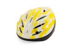 Casco giallo della bicicletta Immagini Stock