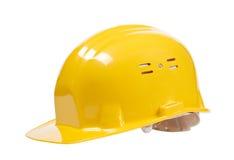 Casco giallo isolato Fotografia Stock