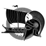 Casco helénico antiguo, galera del velero del griego clásico - el triera y el ornamento griego serpentean Imagenes de archivo