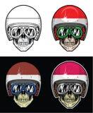 Casco indonesio de la bandera del cráneo del motorista Imagenes de archivo