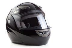 Casco negro, brillante de la motocicleta Fotografía de archivo libre de regalías