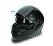 Casco negro de la motocicleta Fotos de archivo