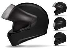Casco nero del motociclo Immagini Stock Libere da Diritti