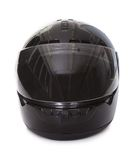 Casco nero del motociclo Fotografia Stock
