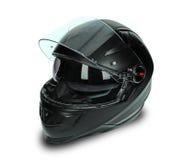Casco nero del motociclo Fotografie Stock