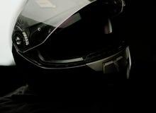 Casco nero del motociclo Immagini Stock
