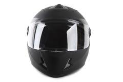 Casco nero del motociclo isolato Immagine Stock