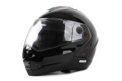 Casco nero del motociclo isolato Fotografia Stock