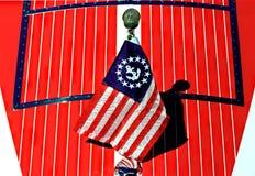 Casco patriótico del barco Fotos de archivo