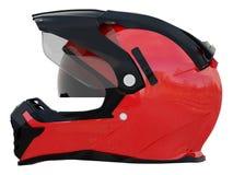 Casco rosso del cavaliere per la corsa con gli accessori neri o bianchi su una rappresentazione bianca del fondo 3d illustrazione di stock