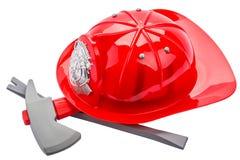 Casco rosso del vigile del fuoco, isolato su fondo bianco fotografia stock