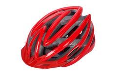 Casco rosso della bici Fotografia Stock Libera da Diritti