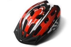 Casco rosso della bici Fotografie Stock Libere da Diritti